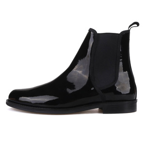 Image 2 - Piergitar 2019 British classic Black Patent leather Men Chelsea Boots Winter style handcrafted Mens casual boots plus size