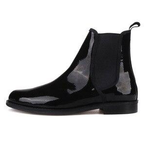 Image 2 - Pierguitar bottes en cuir verni noir pour hommes, classique britannique, Chelsea, style hiver, fait à la main, grande taille, 2019