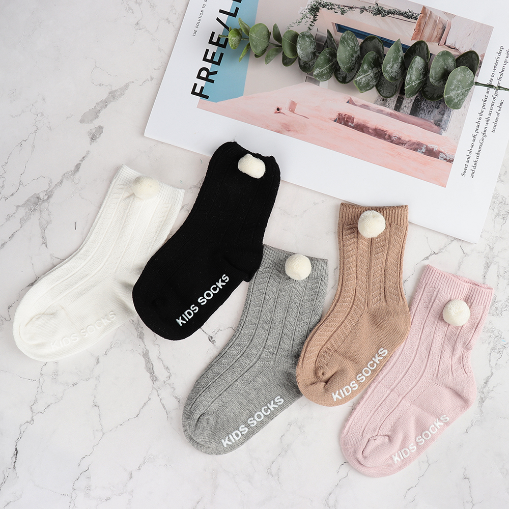 Boy Girl  Cotton   Baby Socks Knit Knee High Socks  Anti Slip Pompom Ball