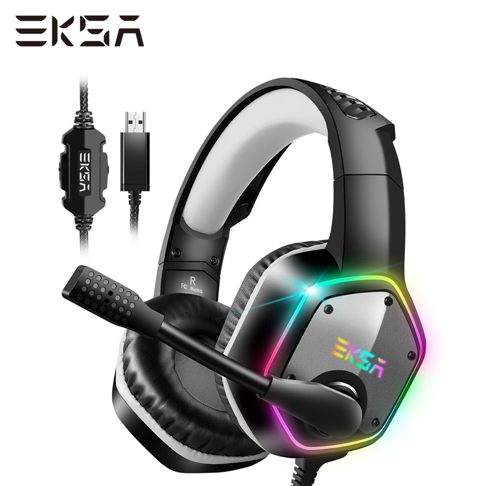EKSA <font><b>Wired</b></font> Gaming Headset E1000 7,1 Surround Sound Headset Gamer PC mit <font><b>Noise</b></font> <font><b>Cancelling</b></font> Mikrofon RGB Licht Gaming Kopfhörer Für PS4 image