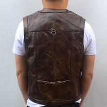 Cowhide Genuine Leather Vest Men Brown Waistcoat Male Sleeveless Jacket Thick Hi