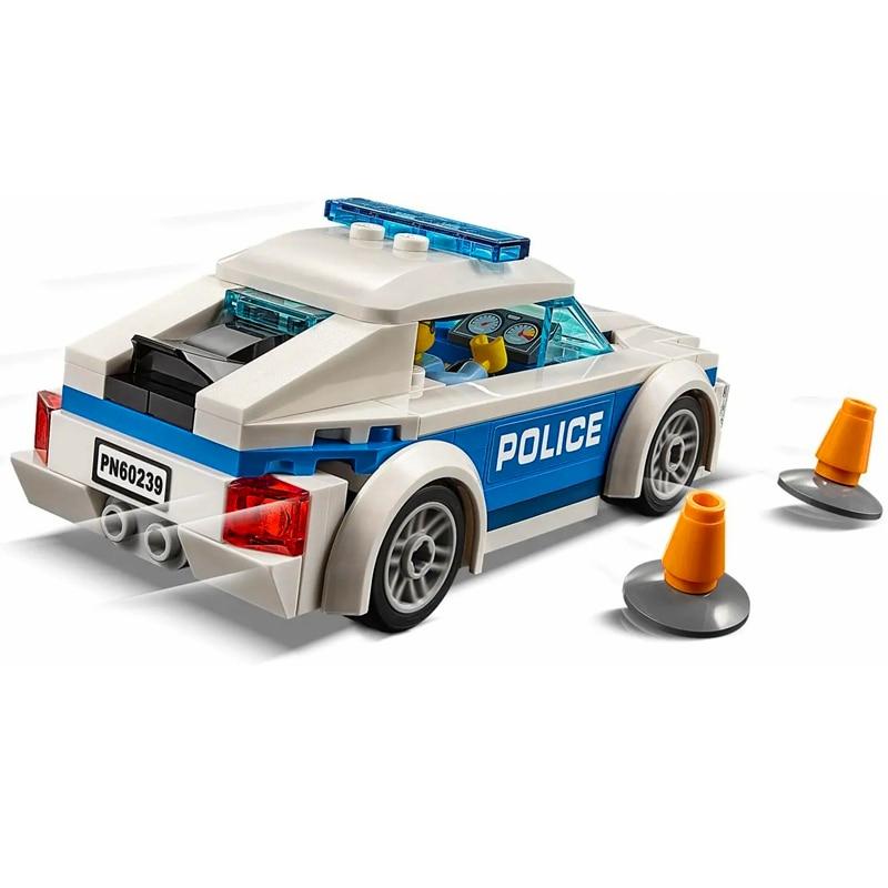 Lari 11206 98 pçs série cidade polícia patrulha modelo de carro bloco construção brinquedos presente para crianças construção técnica 60239