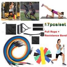 17 pçs bandas de resistência conjunto yoga exercício de fitness bandas de borracha elásticas para tecelagem ginásio workout equipamentos elásticos fitness