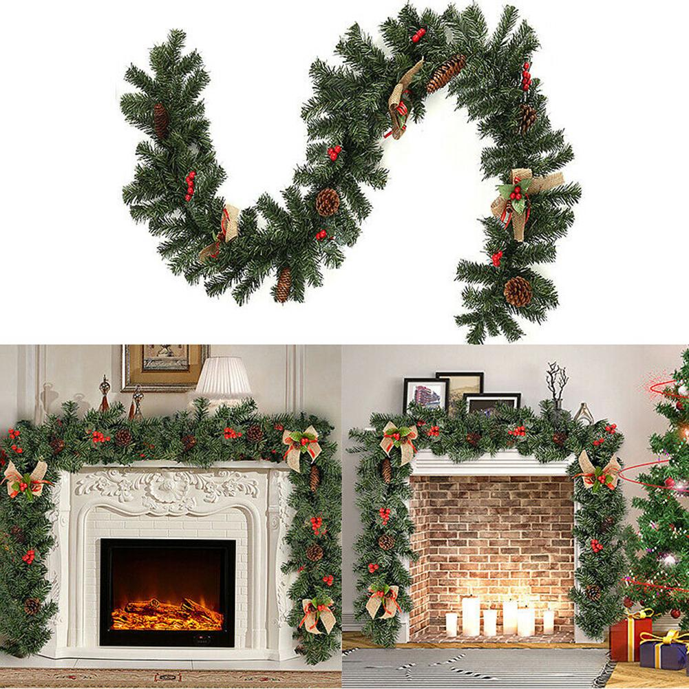 Wreath Artificial Garland 1.8m Christmas Rattan Hanging Berries Rattan Wreath Door Ornament Decor Decorative Cushion Kid Gift