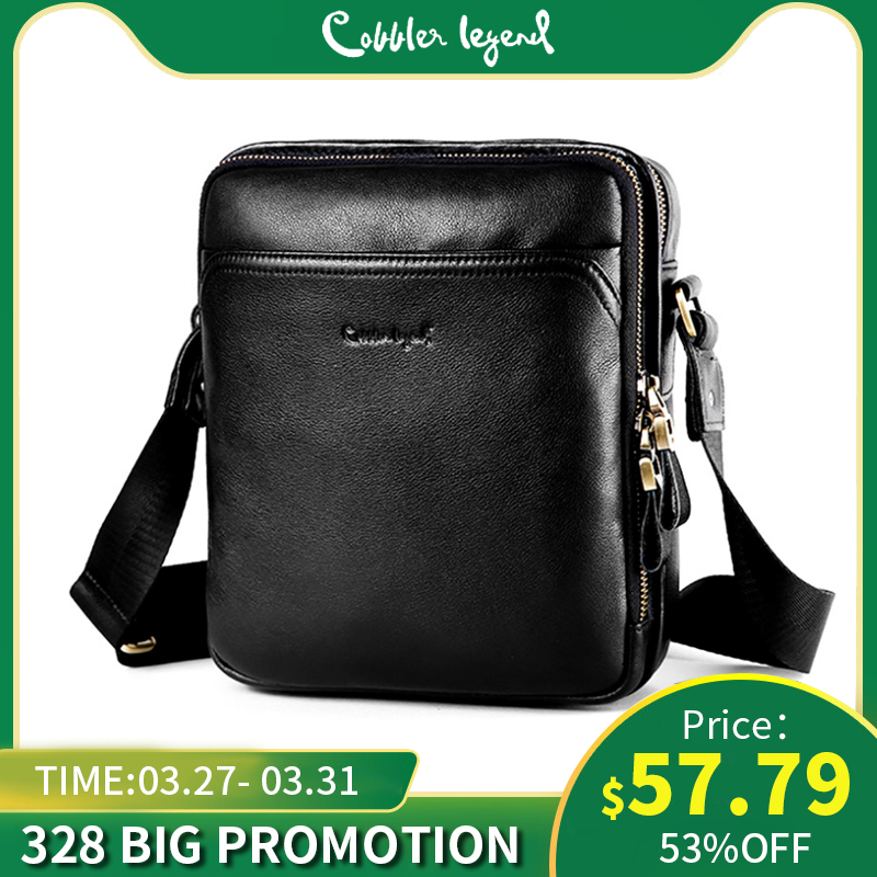 Cobbler Legend Black Genuine Leather Crossbody For Men Designer Shoulder Bag Casual Business Purse Messenger Handbag Male