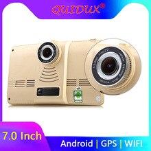 QUIDUX 7 дюймов gps навигация full HD 1080P Android 4,4 автомобильный планшет 170 градусов широкоугольный видеорегистратор камера WiFi FM передатчик