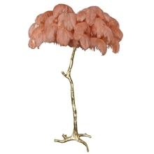 The Ostrich Feather Lamp Light Modern Copper Floor Light Living Room  Hotel Floor Lighting