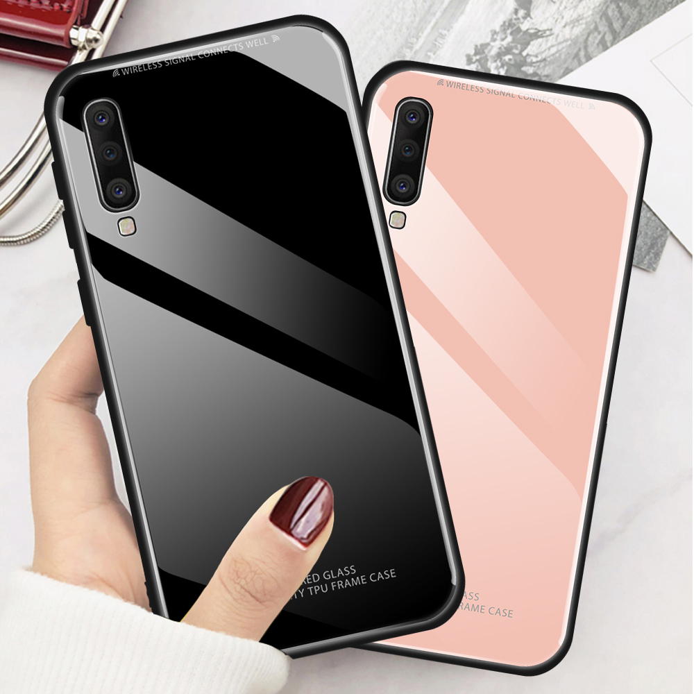 Solid Color Tempered Glass Case <font><b>Samsung</b></font> Galaxy A10 A30 A40 A50 A60 <font><b>A70</b></font> <font><b>2019</b></font> White Pink Glass <font><b>Cover</b></font> on A 50 70 A505 Back Coque image