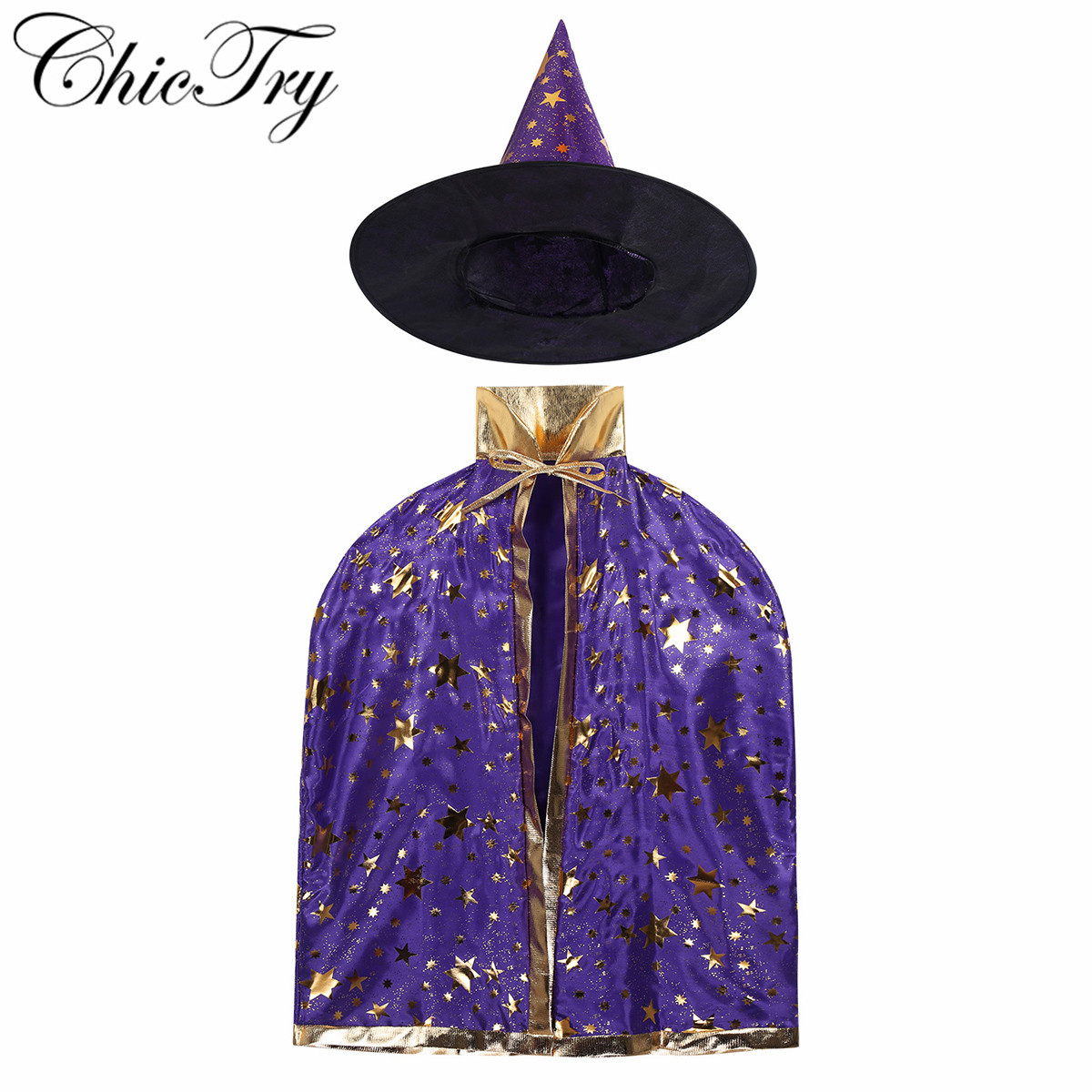 Kids Children Halloween Carnival Costumes Outfit Witch Wizard Cloak Cape With Pointed Hat Outfit Set For Cosplay Party Dress Up