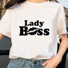 Boss Lady T-shirt con stampa lettere donna manica corta O collo Tshirt Harajuku estate Casual divertente T-shirt femminile Hipster