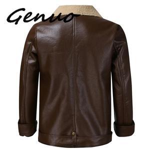 Image 4 - Genuo 男性の冬の革模造バイカーオートバイジッパー長袖コートスリムショート男性 Moto シープスキンショートジャケット