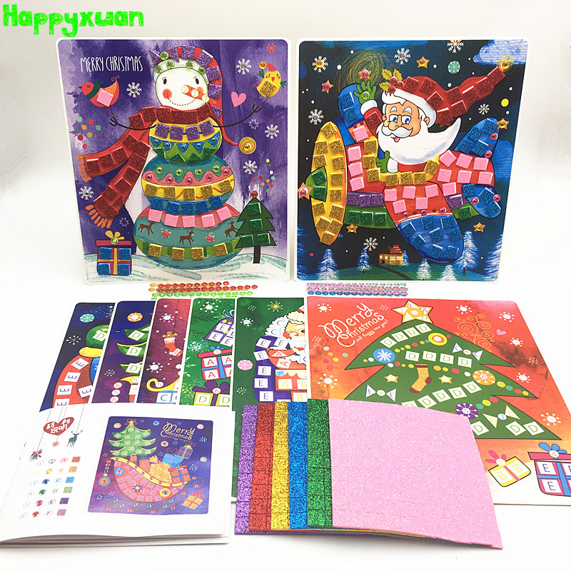 Happyxuan 8 Pictures/set Christmas DIY Kids Craft Kits Sticky Mosaic Art Puzzle Sticker Handmade Creative Toy Kindergarten