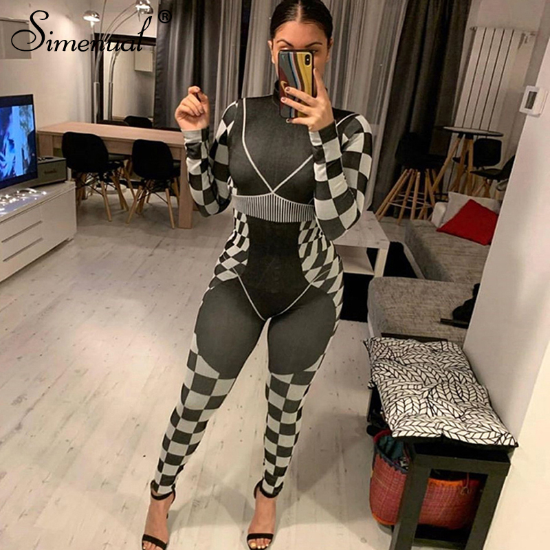 Simenual Fitness Sporty Workout Rompers Womens Jumpsuit Casual Checkerboard Active Wear Long Sleeve Fashion Jumpsuits Skinny