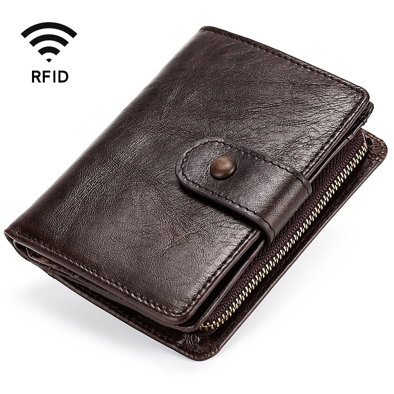 Men's Genuine Leather Wallet Vintage Men's Purse Cards Holder Soft Leather Coin Purses Short Dollar Price Male Purse