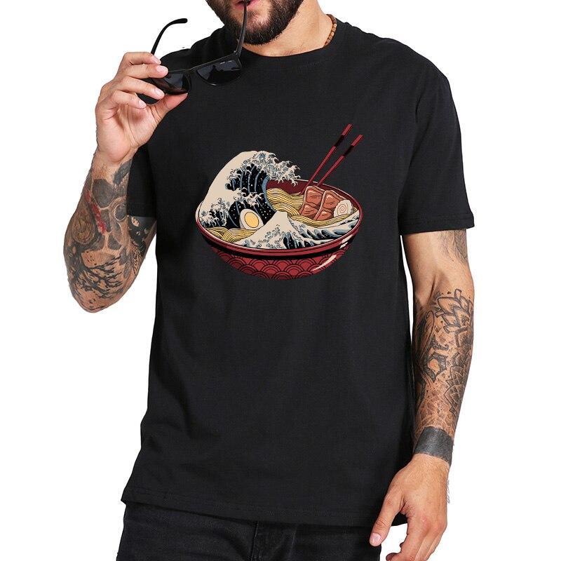 EU Größe Rame Große Welle T hemd Kanagawa Heißer Modische Design Schwarz Köstliche Nudel Japan T-shirt