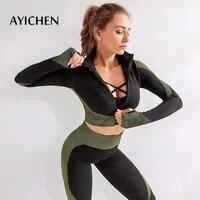 AYICHEN Seamless Yoga Women Set Fitness Sports Suit GYM Clothes Long Sleeve zipper Top High Waist Running Leggings Workout Pants