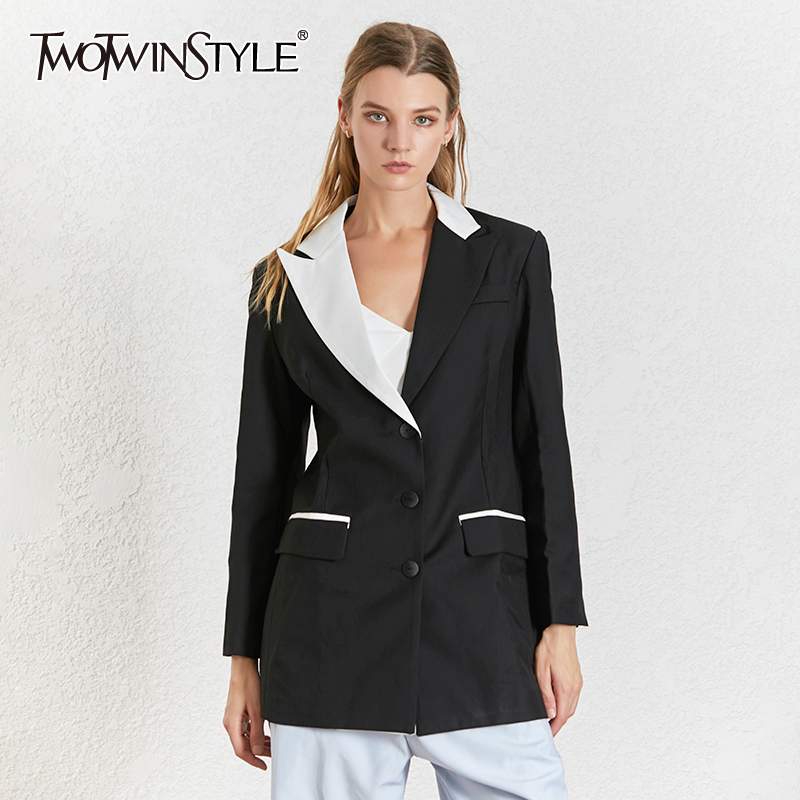 TWOTWINSTYLE Patchwork Blazer Women Notched Collar Long Sleeve Single Breasted Blazers Female Fashion 2020 Ladies OL Style New