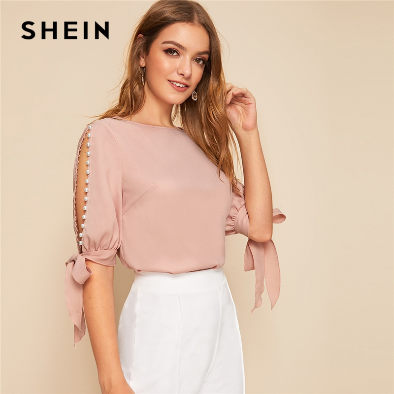 SHEIN Solid Pearls Beading Side Knot Cuff Elegant Blouse Women Tops 2019 Autumn Half Sleeve Basic Blouses For Young Ladies