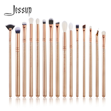 Jessup 15PCS Golden/ Rose Gold Makeup brushes set Beauty kits Eye Make up brush EYESHADOW CONCEALER LIP BRUSHES