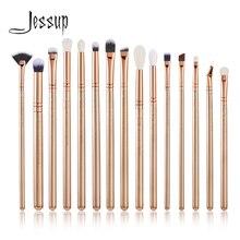Jessup Juego de brochas de maquillaje, 15 uds, color dorado/rosa dorado, kits de belleza, brocha de maquillaje de ojos, corrector labial