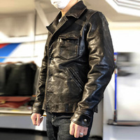 XX Read Description! Asian size super top quality genuine horse leather jacket slim classic horsehide stylish rider jacket