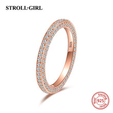 Strollgirl authentic 100% 925 sterling silver Rose Gold Ring  with Clear Cz for women trendy Jewelry Valentine gift