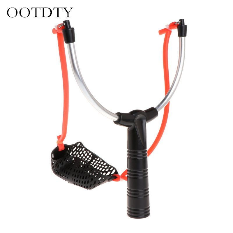 Fishing Bait Slingshot Thrower Aluminum Alloy Elastic Powerful Catapult Food Bag Fishing Gear Fishing Supplies