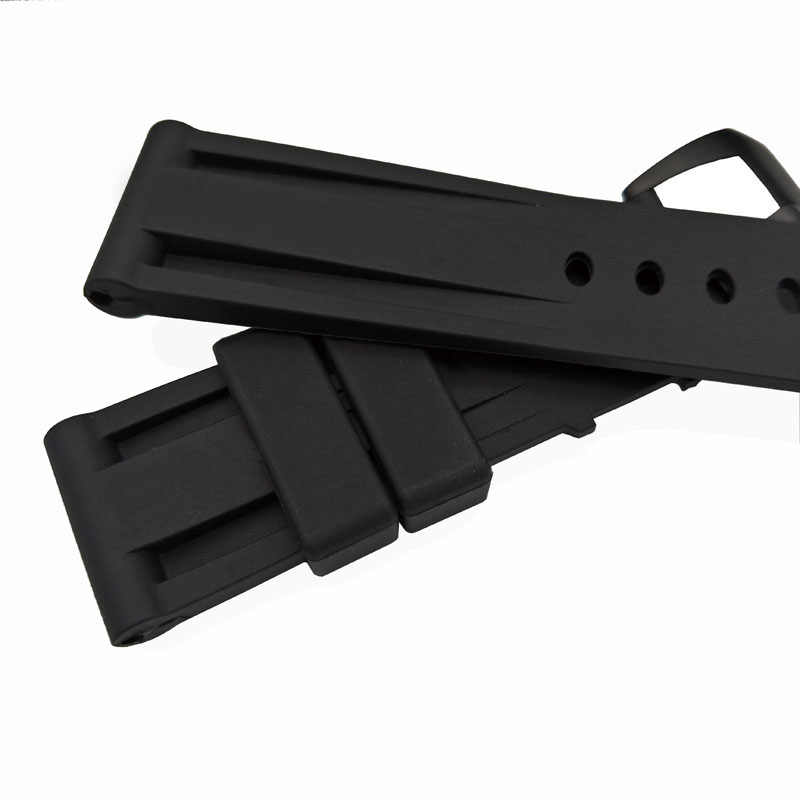 22mm 24mm Men Black watch band Silicone Rubber Watchband fit For Panera-Strap Stainless steel Pin buckle PAM wristband Free tool