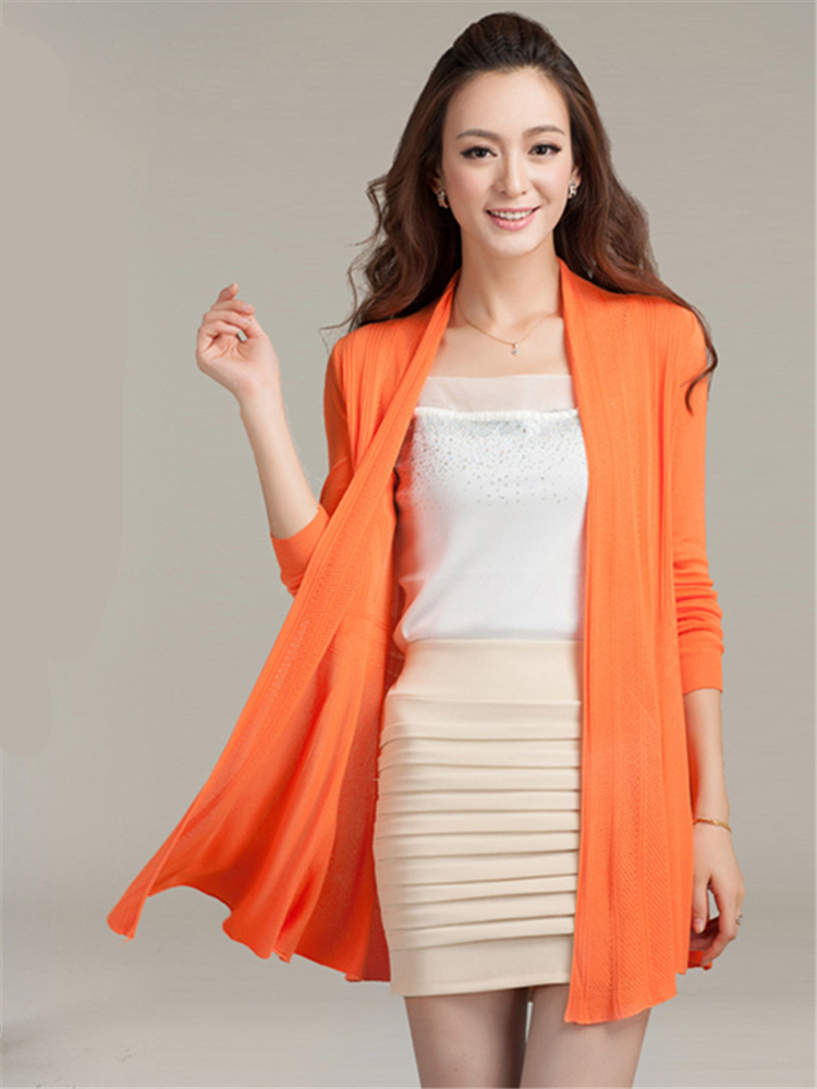 Makuluya Open Stitch Women Casual Vintage All-Match Vertical Fashion Straight Hollow Out Thin Long Sleeve Sweaters Cardigan L6