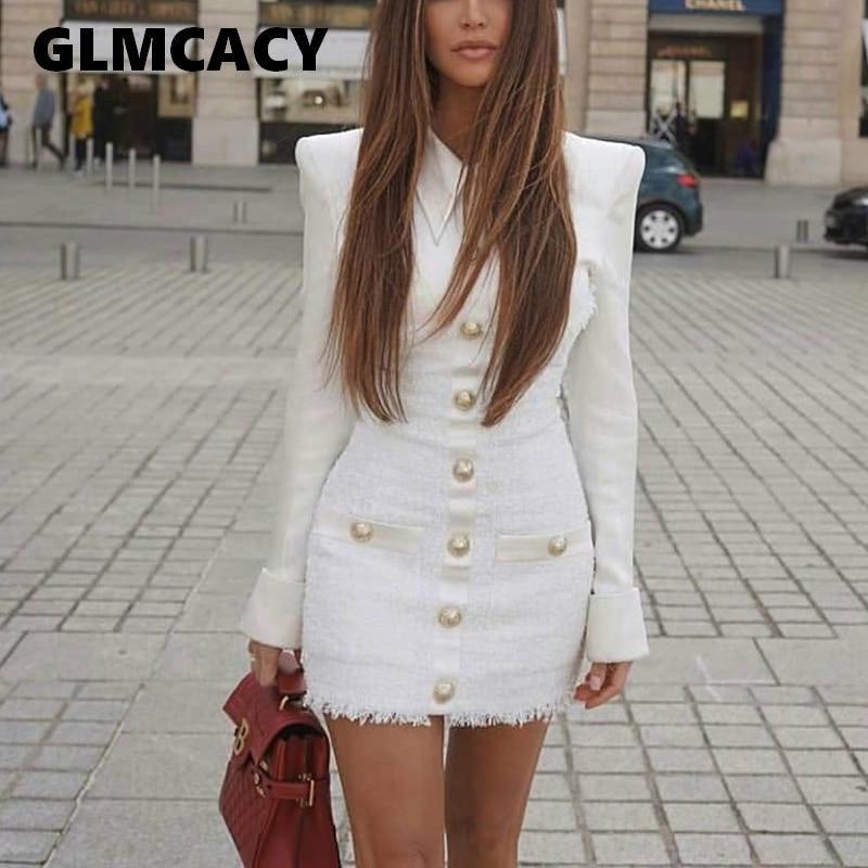 Plus Size Women Tweed Patchwork Elegant Long Sleeve Party Dress Single Breasted Bodycon Mini Dress Office Ladies Workwear