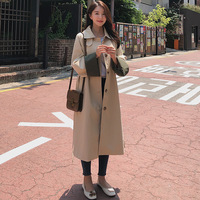 2019 Autumn Clothing New Style South Korea waitmore Star Celebrity Style Mid length Versitile Fashion over the Knee Trench Coat