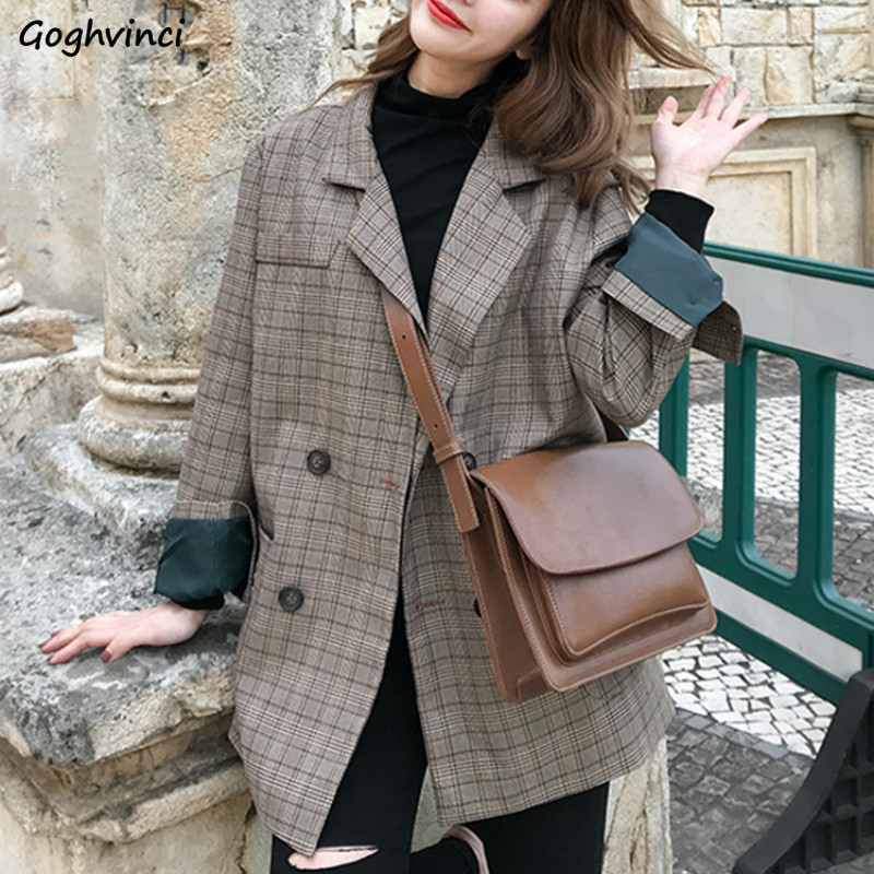 Blazer Women Long Plaid Blazers Simple All Match Womens Korean Style Harajuku Clothing Females Elegant Plus Size Double Breasted