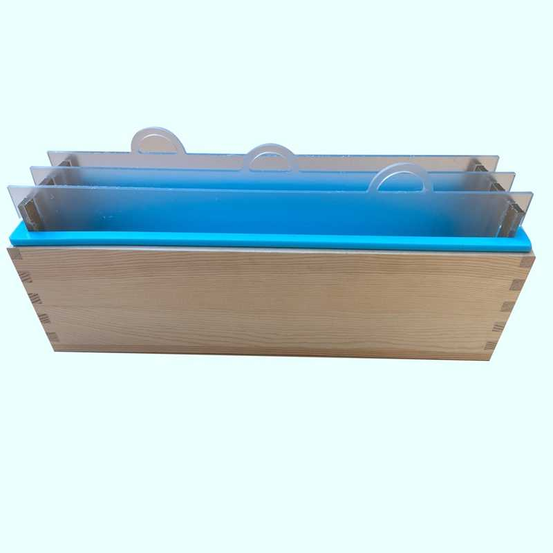 Rectangular Silicone Render Soap Mold with Wood Box and Transparent Vertical Acrylic Clapboard for Handmade Loaf Mould