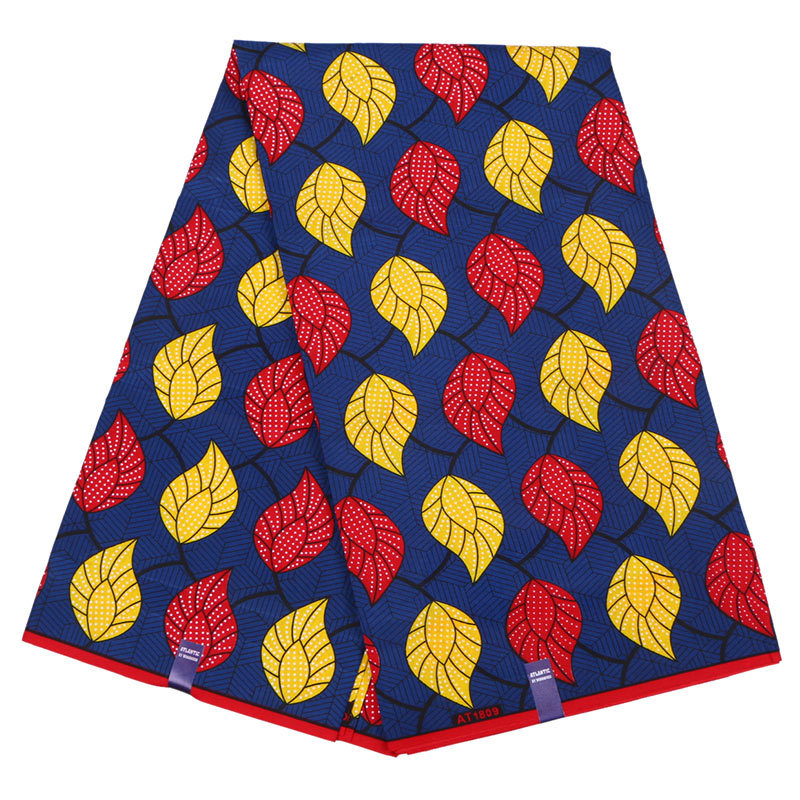 2019 Dutch Wax Fabric 100% Polyester Yellow And Red Leaf Print Fabric Pagne Wax