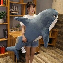 140cm grande simulação macia bonito tubarão pelúcia brinquedos kawaii recheado crianças meninos meninas adorável animal travesseiro para presentes de aniversário