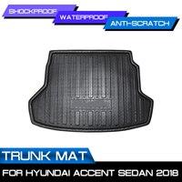 Auto Hinten Trunk-Boot Matte Wasserdicht Fußmatten Teppich Anti Schlamm Tablett Cargo-Liner Für Hyundai Accent Limousine 2018