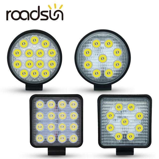 Barra de luces LED de trabajo para Jeep, ATV, UAZ, SUV, 4WD, 4x4, camión, Tractor, todoterreno, 27W, 42W, 48W, haz de Luz brillante, 12v, 24v
