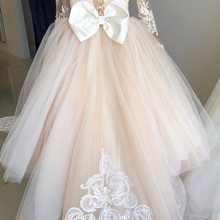 Ball-Gown Party-Dress Flower-Girl-Dresses Puffy Tulle Lace Long-Sleeve Illusion Wedding