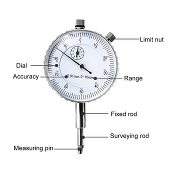 Junejour 0-10mm High quality Protable Dial Indicator Precision Dial Test Gauge Range