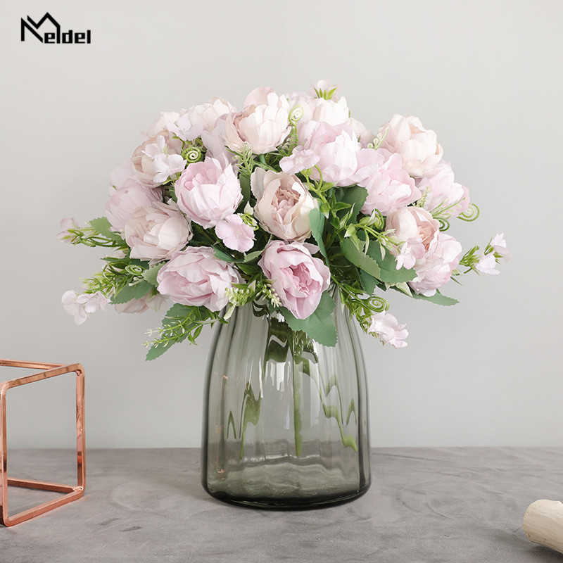 Artificial Flowers Peony Silk Bouquet White Big 7 Heads Peonies Fake Flowers For Wedding Party Home Table Decor Imitation Floral