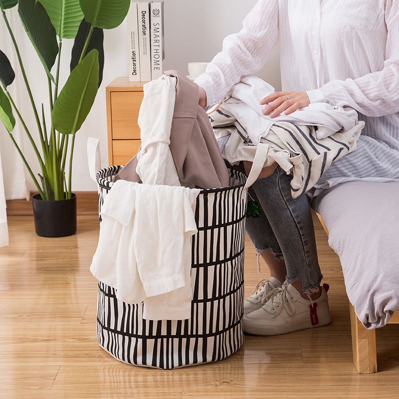Nordic Cotton Linen Laundry Basket Folding Hamper Home Decoration Accessories Waterproof Clothes Storage Organizer 35x45cm