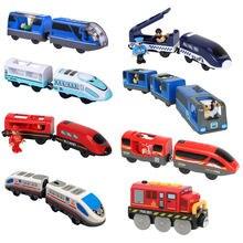 Locomotora magnéticamente eléctrico conectado tren pequeño magnético riel de juguete Compatible con pista de madera regalo para niños