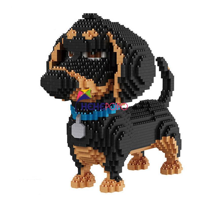 2100pcs 16014 Hot Sale Cartoon Dog Mini Dachshund Model Block Building Brick Toys for Children Gifts Dog Pets Building Blocks