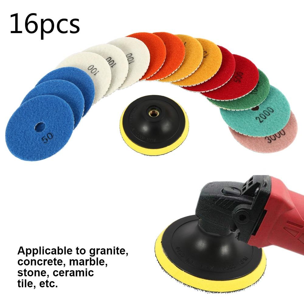 16pcs Diamond Polishing Pads Kit 4 Inch Wet/Dry For Granite Stone Concrete Marble Polishing Use Grinding Discs Set