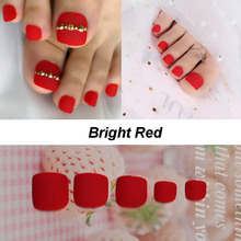 Bright red Fench Matte Nail for Toes Wide Designed Classical Artificial Fake Toenails French Style Tips Show Beautiful Summer
