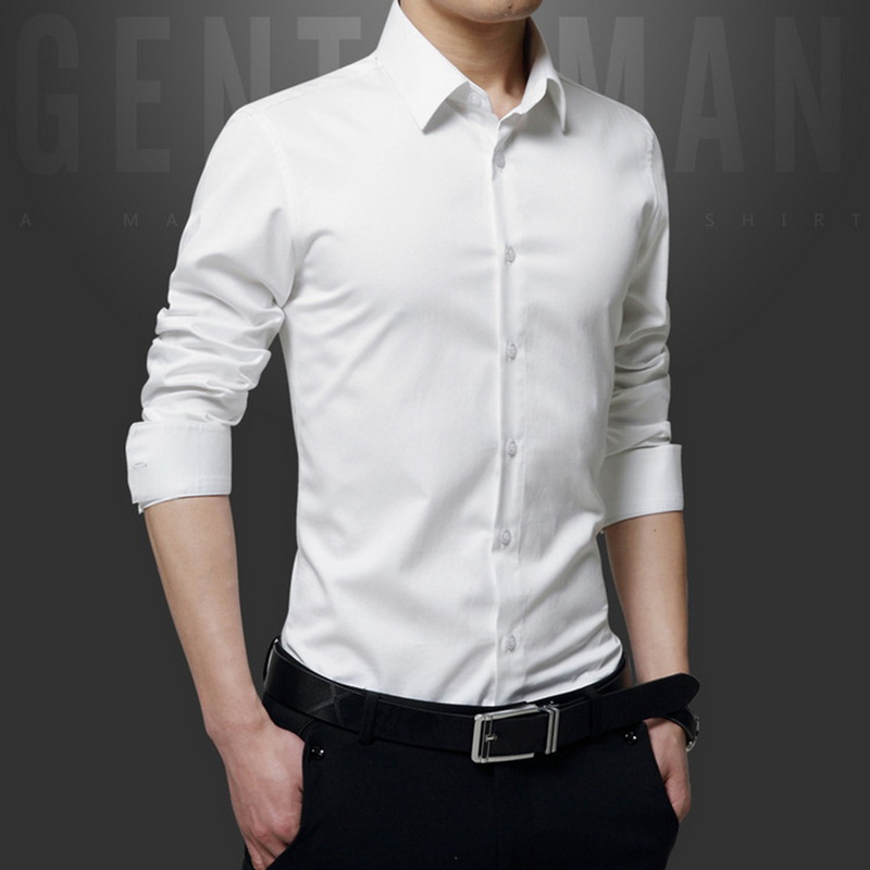 Spring Long Sleeve Turndown Collar Men Shirts Korean Style Slim Fit Solid Business Shirt Tops Male White Button Shirts