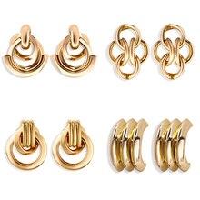 Vintage Golden Ring Geometry Stud Earrings New Design Buckle Earring For Women 2019 Fashion Ear Jewelry Bridal Wedding