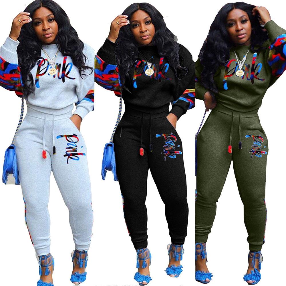 Plus Size 2 Two Piece Set Women track suit tops and pants embroidery suit fashion jogging femme sets 2 piece outfits sweat suits