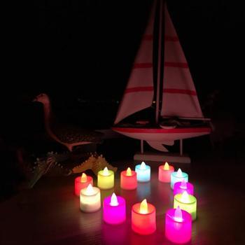 Świece led świeca led z baterią Multicolor lampa świeca symulacja Tea Light ślubne dekoracje na przyjęcie urodzinowe świeca akcesoria tanie i dobre opinie Liplasting Bezpłomieniowe Świeczka led Other LED Fliker Flameless Candle Lights Świeca lampy Milk white when the light is off