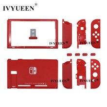IVYUEEN-carcasa de repuesto para consola Nintendo Switch, carcasa de color rojo, Con botón frontal y trasero